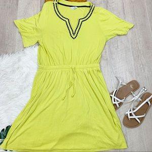 Boden Elastic Waist Short Sleece Vneck Dress D1306